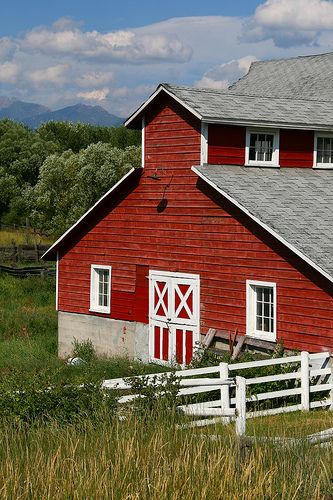 Red barn near Missoula, Montana