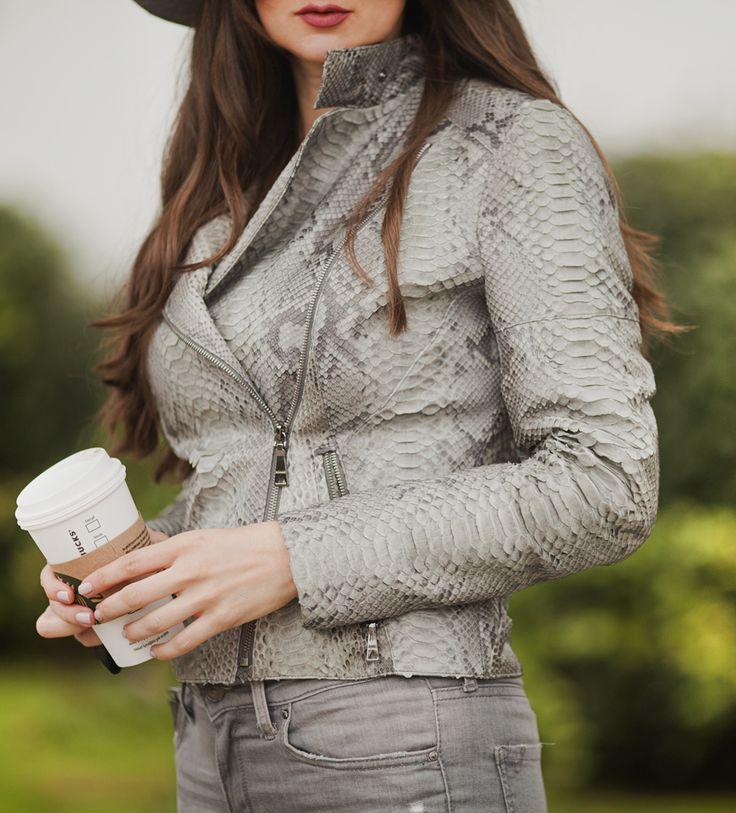 Grey python jacket by ADAMOFUR #style #fashion #inspiration #grey #leatherjacket