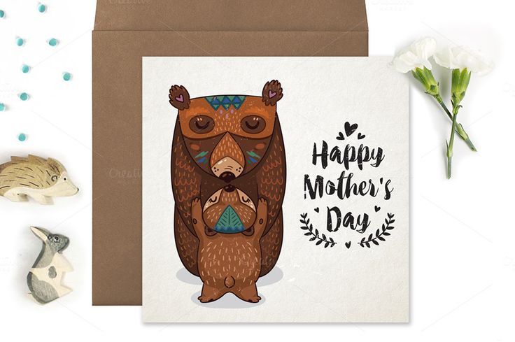 Happy Mother's Day cards by PenguinHouse on @creativemarket