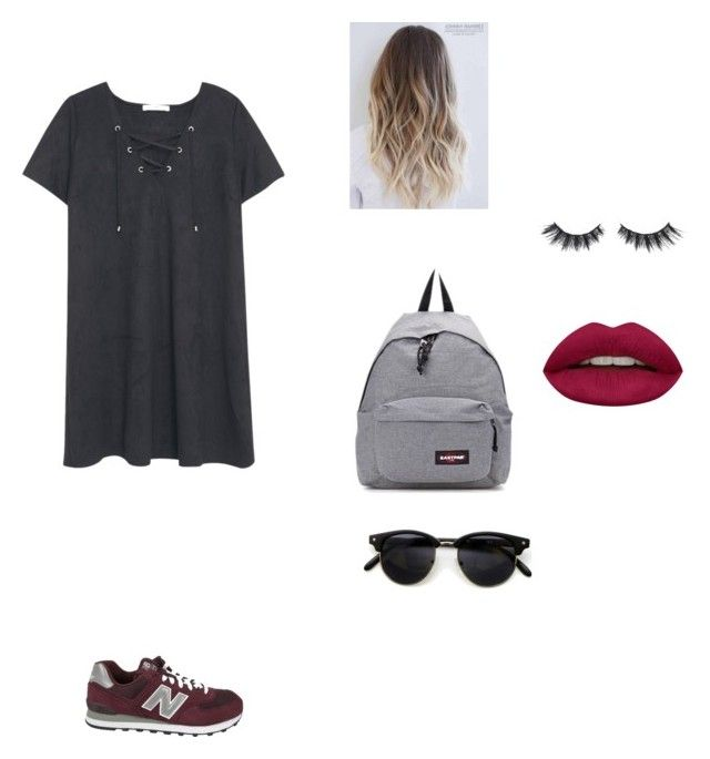 """Untitled #319"" by ericanais on Polyvore featuring MANGO, New Balance, Eastpak, Huda Beauty and Violet Voss"
