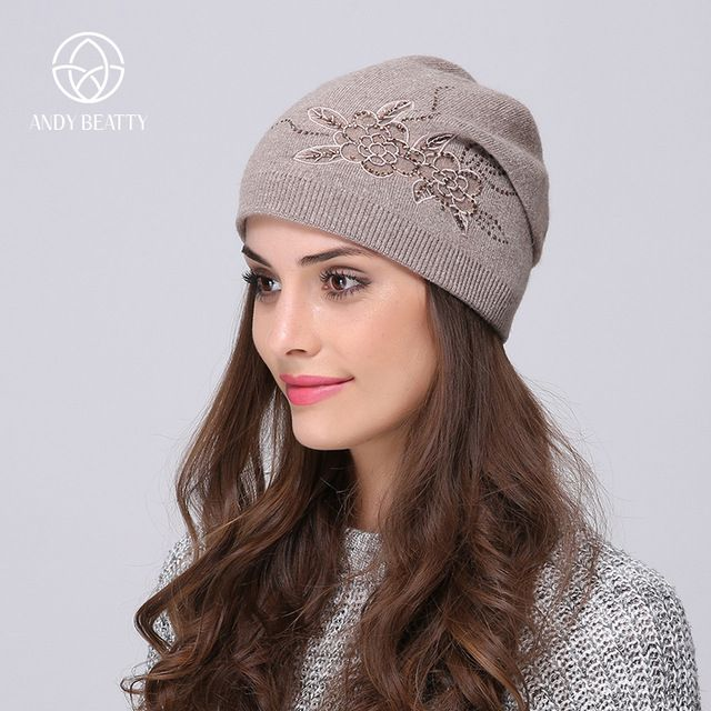 Today Sale $8.63, Buy Andybeatty Women's Winter Hats Knitted Wool Skullies Casual Cap with Flower Pattern Gorros Thick Warm Bonnet Beanie Hat for girl