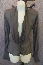 FLIRTY Sheer Grey SILK Saks Fifth Avenue Carolyn ROEHM Shirt Blouse