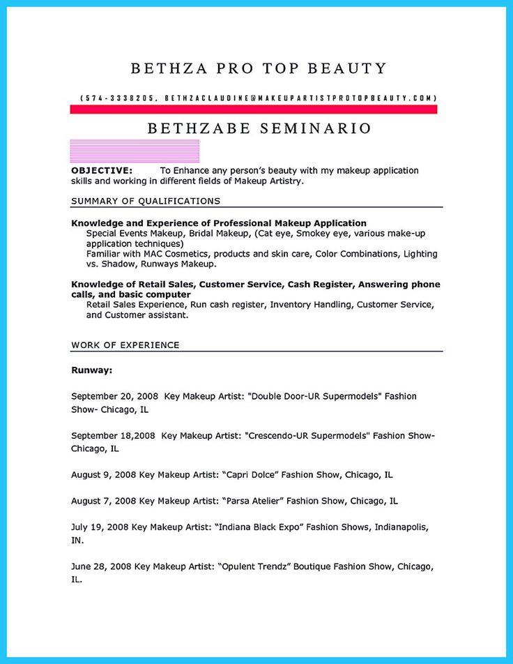 594 best Resume Samples images on Pinterest Resume templates - makeup artist resume examples