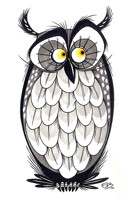 owl (for National Doodle Day 2010) by Elaine Bogan