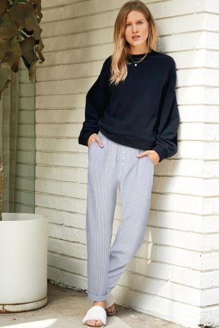 PJs on the bottom, oversized sweater on the top - standard Sunday attire!