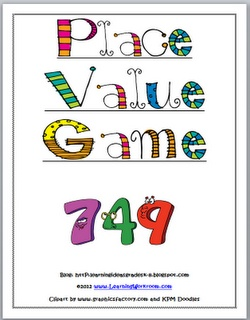 Place Value Game -  has both black and white plus color versions