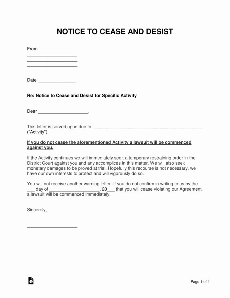Sample Cease And Desist Letter To Former Employee Beautiful Free