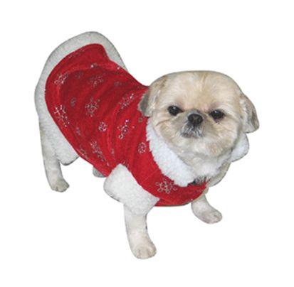 Kerst jasje voor honden. Dit kerst jasje is rood met zilveren sterren. De honden jas heeft een witte bont kraag. Deze kerst jas is bedoeld voor kleine honden rassen. De rug-lengte is ca. 38 cm, de omvang bij de voorpoten is ca. 48 cm en de omvang aan de achterkant is ca. 58 cm.