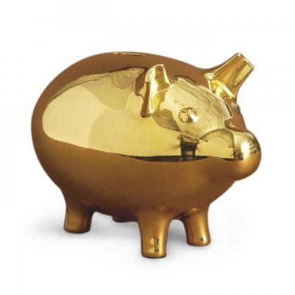 Jonathan Adler Gold Piggy Bank in All Pottery
