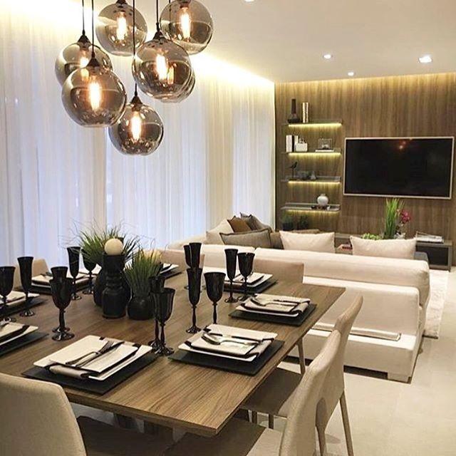 Sala de jantar com estar juntinha autoria de Chris Silveira Arquitetura | @decorcriative