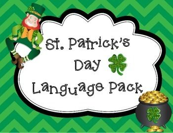 Free! St. Patrick's Day Language  activities and printables that address language goals such as following directions, pronouns, describing and more!  It also contains motivational activities that can be used to help with articulation and language therapy.