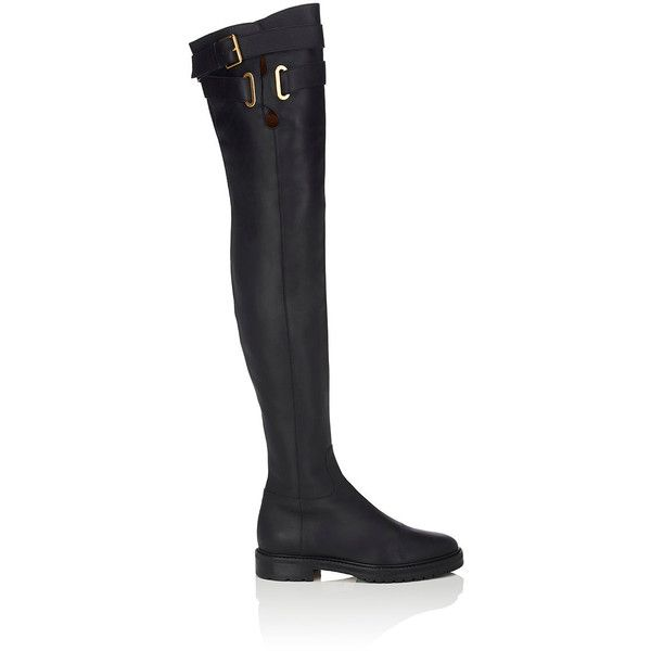 Valentino Women's Leather Over-The-Knee Boots (30.680 ARS) ❤ liked on Polyvore featuring shoes, boots, black, over-the-knee boots, black leather boots, above the knee boots, thigh boots, buckle boots and black over the knee boots