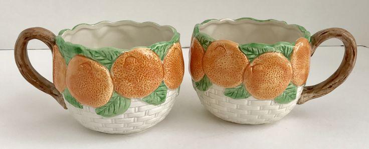 Two Vintage Fitz and Floyd Basket Weave Orange Mugs