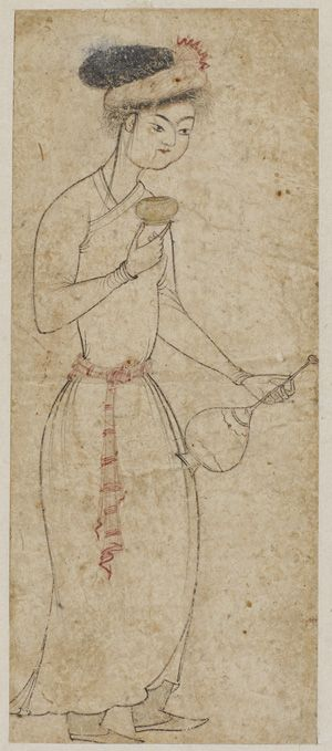 Standing figure with wine cup and flask 1550s Black and red ink with gold on paper H: 10.1 W: 4.3 cm  Probably Bukhara, Uzbekistan  Gift of Charles Lang Freer F1907.764  Freer-Sackler | The Smithsonian's Museums of Asian Art