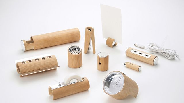 Minimalist Bamboo Desk Set: The Wood Makes It Good...  Yu Jian's gorgeous bamboo desk set incorporates various office-related accessories into hollowed-out bamboo trunks. The collection will bring a sort of zen-like consistency to your desk, and will most likely have you wishing your monitor, printer, phone, and laptop were all covered in a bamboo finish too.