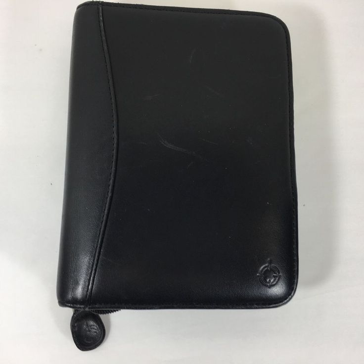 Franklin Covey Classic 6 Rings Binder Planner Organizer Black Leather PDA Phone #FranklinCovey