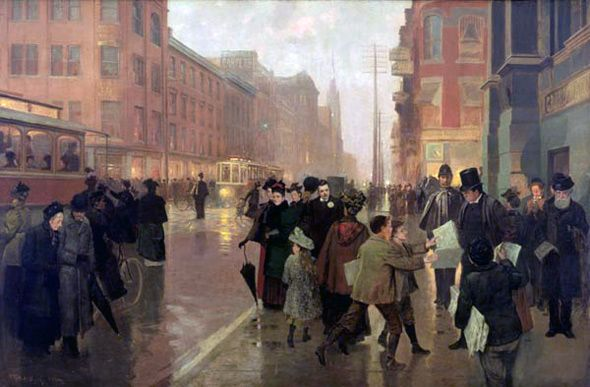 "Frederic M. Bell - ""Lights of a City Street"" 1894"
