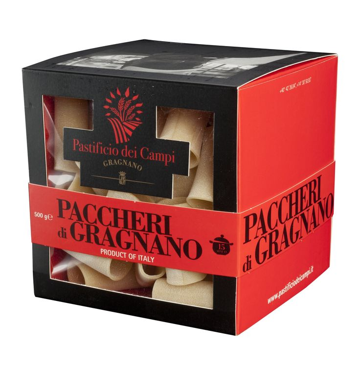 "PACCHERI DI GRAGNANO PGI - PASTIFICIO DEI CAMPI  In Neapolitan, pacchero means ""a slap"" - as in a slap in the face  Gragnano pasta extruded through bronze PGI 100% Made in Italy  Ingredients: durum wheat semolina and water (contains gluten)  Features: pasta extruded through bronze"