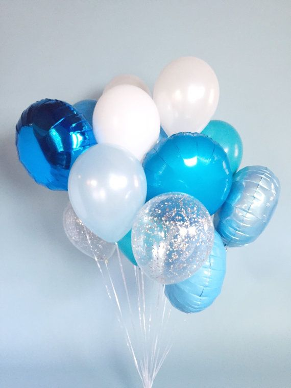 Big Blue Balloon Bouquet Confetti Balloons by LolasConfettiShop