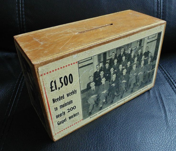 Vintage London City Mission Charity Wood Collection Box Circa 1960s