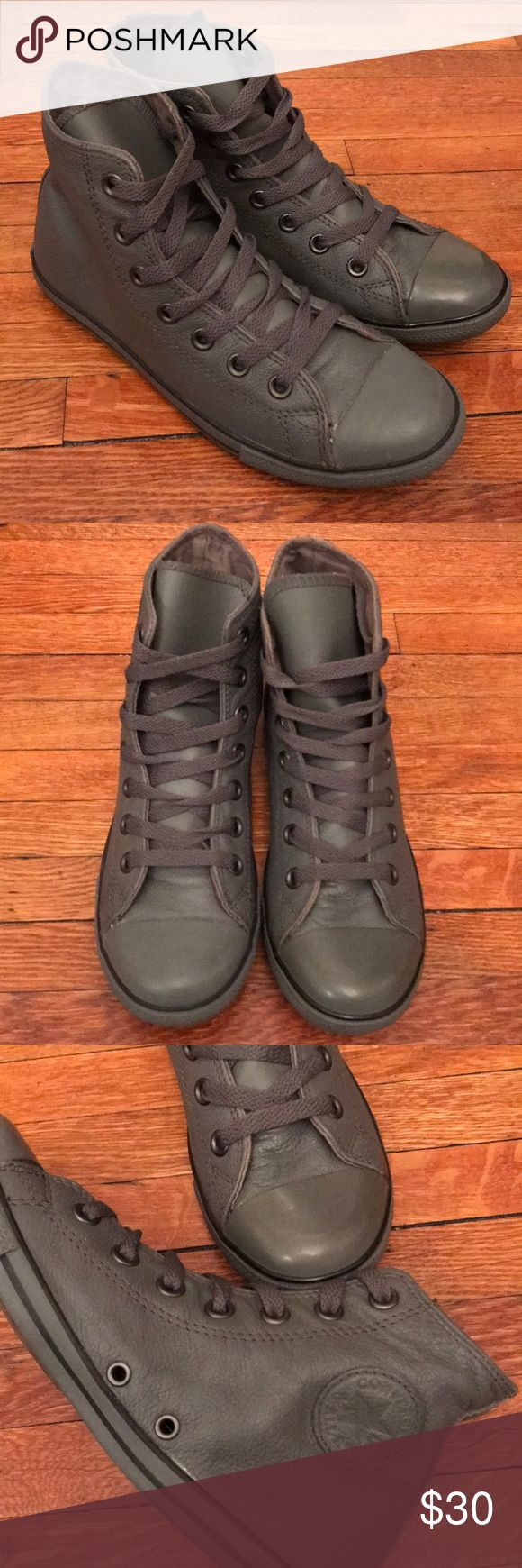 Converse Slim Hi in Charcoal size 6 new New, never worn leather Charcoal slim hi converse.  Blemishes as shown in photos. Converse Shoes Sneakers