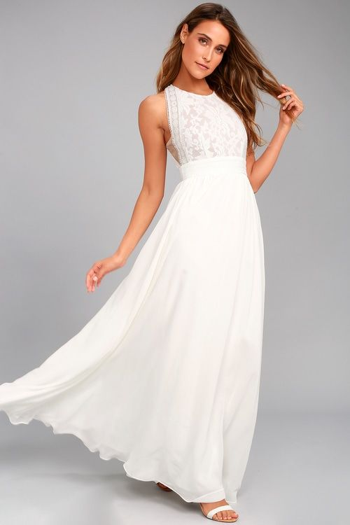 ad27ad65551 Forever and Always White Lace Maxi Dress