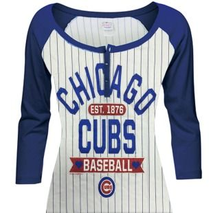 Chicago Cubs Women's Burnout 3/4 Sleeve White/Royal Raglan T-Shirt by 5th & Ocea | SportsWorldChicago.com