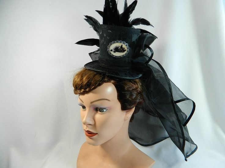 Tophat black cat veil cameo Minihat Fascinator Gothic Hat Funeral Burlesque morbid Bibi Chapeau black Victorian Steampunk Drag Queen by Nashimiron on Etsy