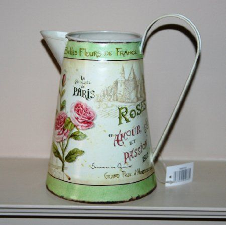 Rose Paris Decorative Tin Metal Jug 21cm Tall