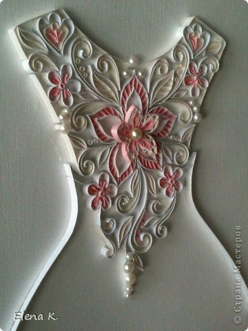 Painting mural drawing Quilling pattern on a wedding dress photo paper strip 8