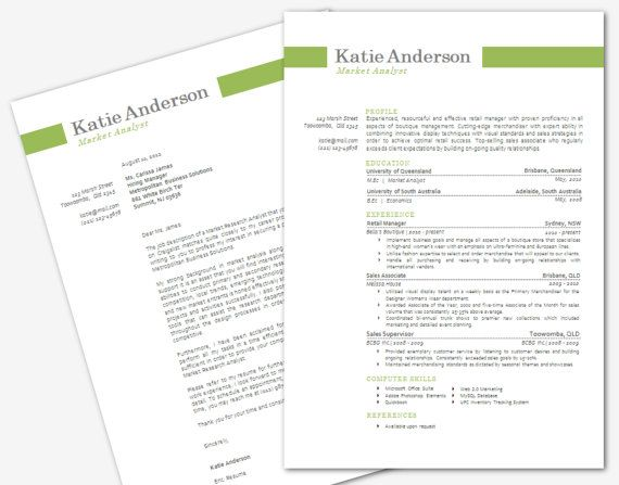Modern Microsoft Word Resume And Cover Letter Template By Inkpower, $18.00