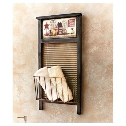 Washboard Basket Hanging Wall Rack Country Home Accent Decor Kitchen Bathroom    #Country