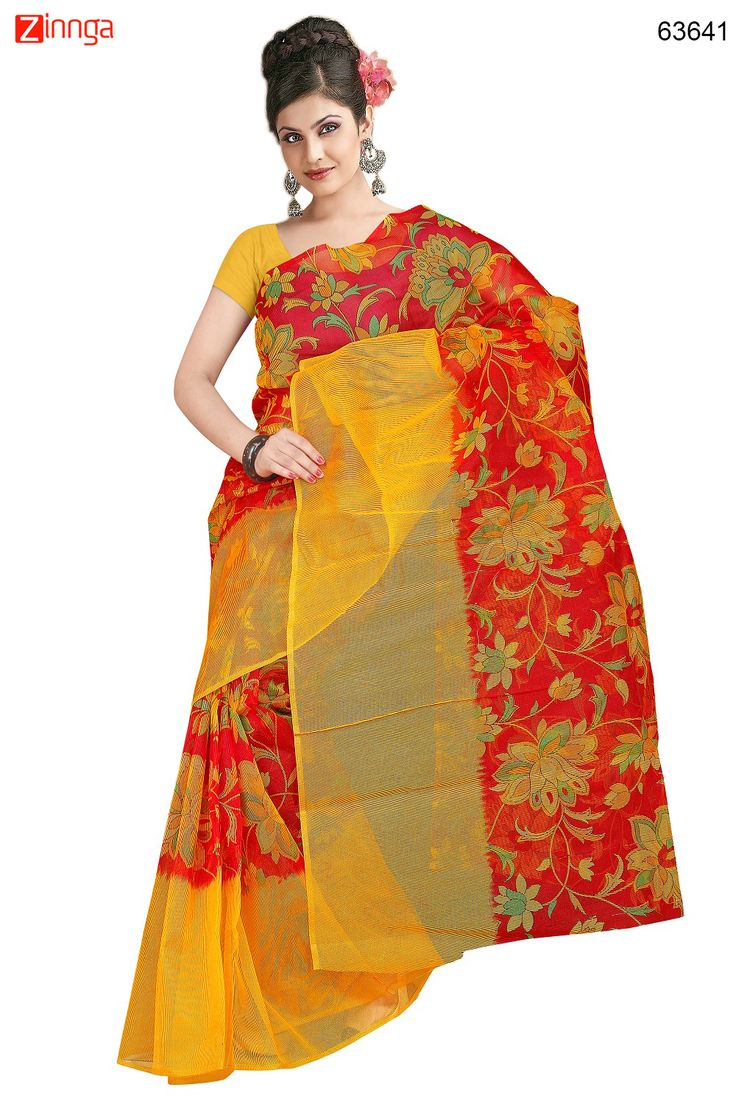 Yellow & Red Color Saree With Cute Printed Pallu. Message/call/WhatsApp at +91-9246261661 or Visit www.zinnga.com