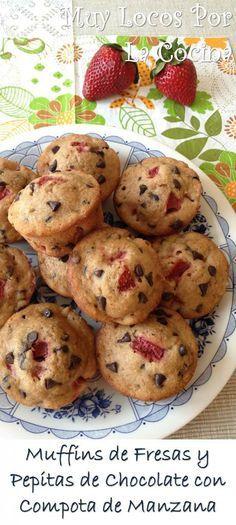 Muffins de Fresas y Pepitas de Chocolate con Compota de Manzana: Todo el sabor con bajo contenido en grasa