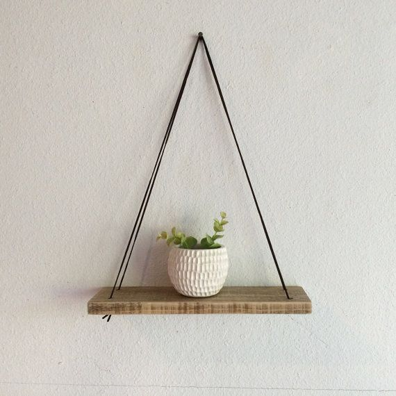Swing Shelf - Reclaimed Wood Shelf - Wood and Leather - Urban Shelf - Simple…