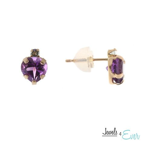 These heart shaped earrings set in #10KGold make the perfect gift for any occasion. Set with genuine 6 x 6 mm heart-shaped #Amethyst and accented with #Aquamarine.