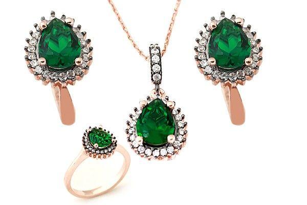 Damla temalı, zirkon taş işlemeli, yeşil taş süslemeli muhteşem 3'lü gümüş bayan set