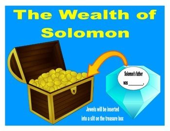 When discussing Solomon and his wisdom, I didn't want to just review all his 'stuff'. This treasure chest printable is an overview of Solomon. You can print the treasure chest page in color or black & white. The jewels are only black & white so you can save ink and print on your choice of color paper.