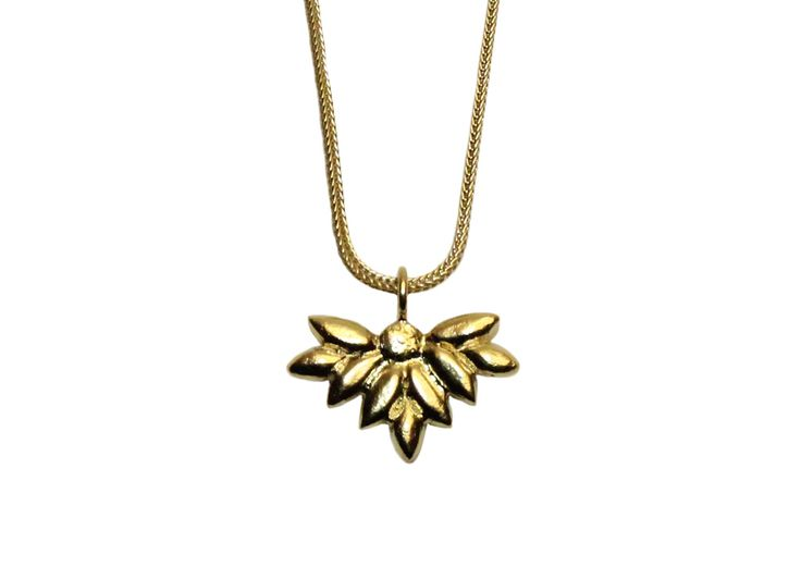 Foliage necklace; Material: sterling silver, vermeil