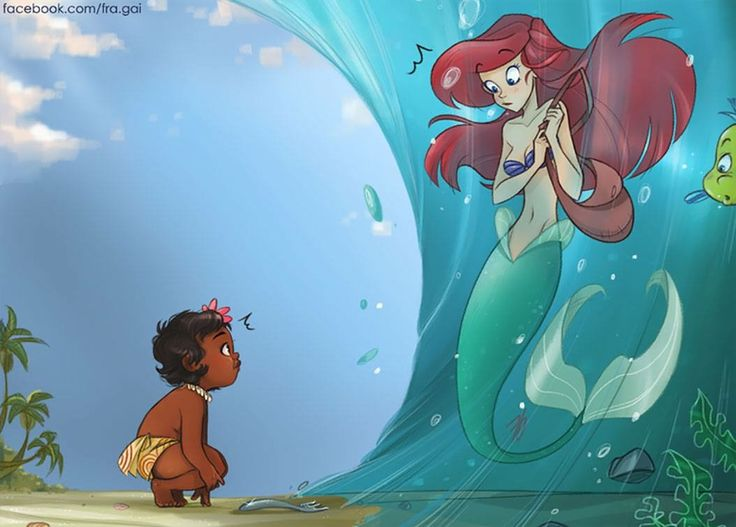 Little Moana meets Ariel