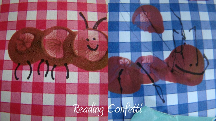 """This craft would be cute for kids to stamp the ant bodies, trace antennas/faces, and glue on eyes. I'm working on a """"picnic"""" theme for summer :)"""