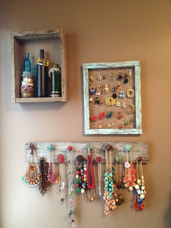 jewelry storage from reclaimed wood