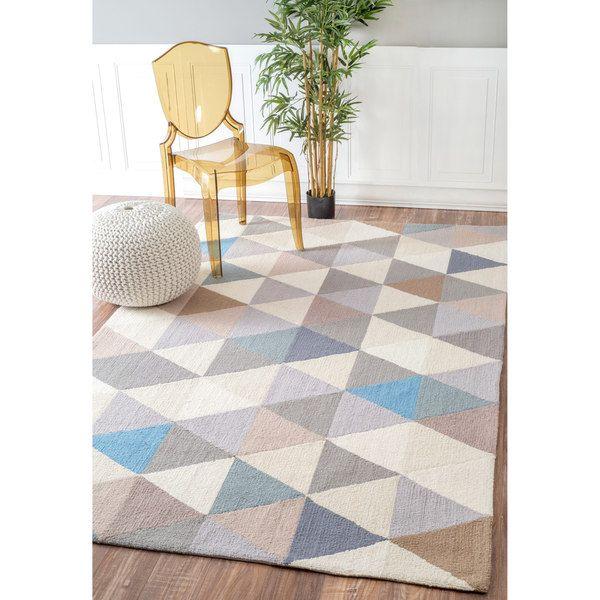 nuLOOM Handmade Dimensional Triangles Wool Grey Rug (7'6 x 9'6)