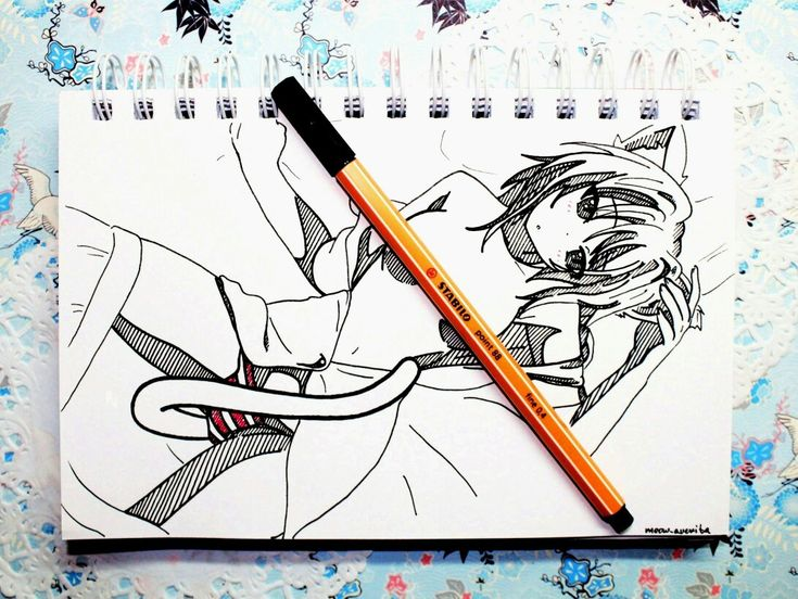 #drawing #anine #art #cute #neko #fanart #sketchbook #kawaii #ecchi #meowaverita #скетчбук #арт #творчество #скетчбук #анииме
