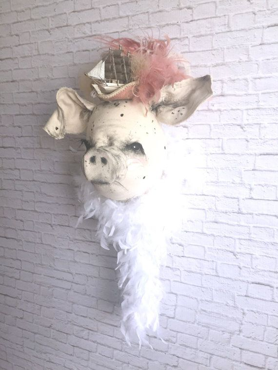 Belle Pig Couture Faux Taxidermy Stuffed Animal Head Wall