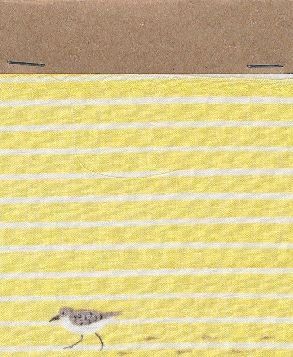 biologisch katoen strandvogel print in geel