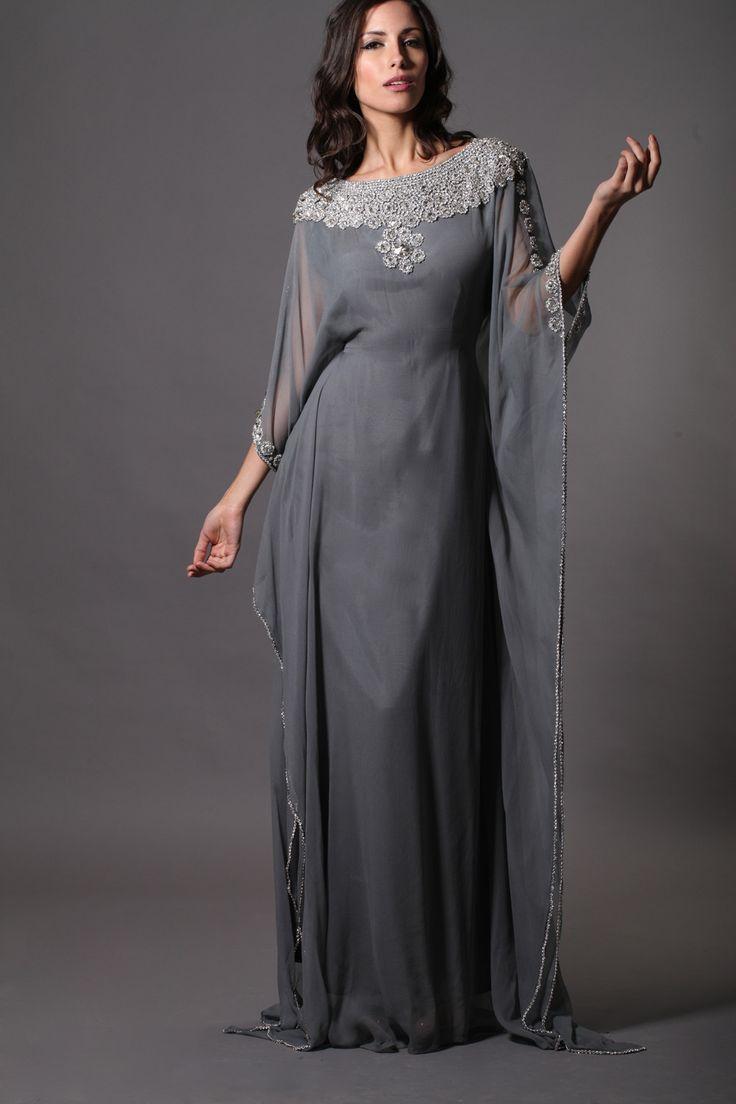 gray beaded Dubai Morrocan Style KAFTANS Abaya Jalabiya Ladies Maxi Long Formal Gowns Dresses