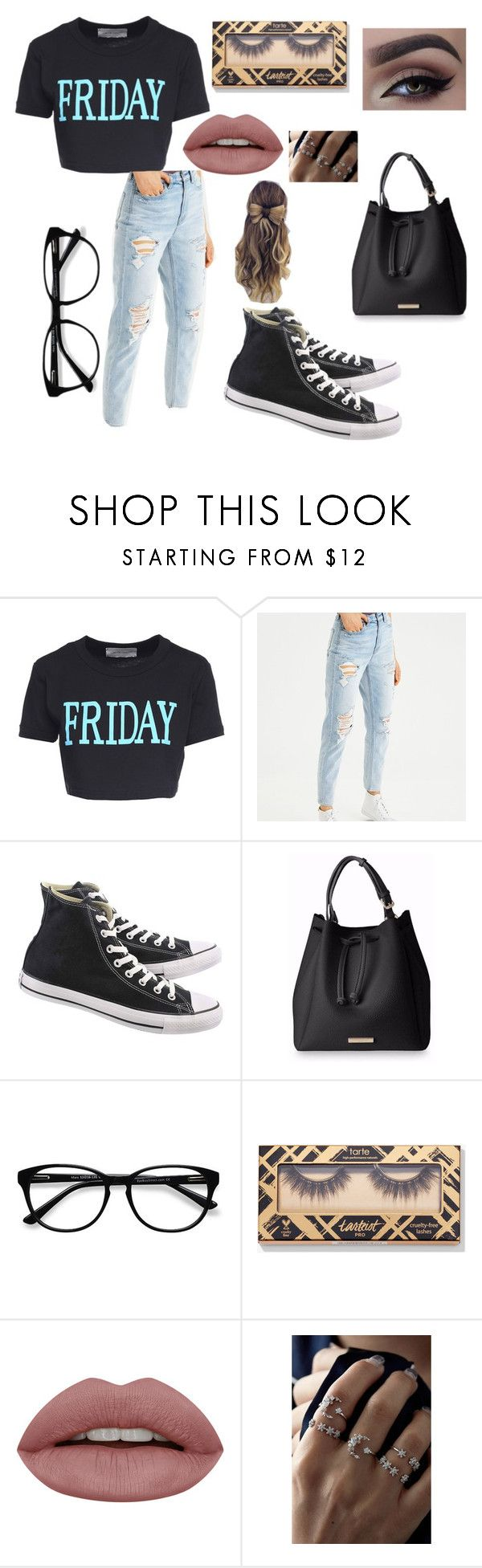 """""""Casual dinner outfit"""" by sissyshelby ❤ liked on Polyvore featuring Alberta Ferretti, American Eagle Outfitters, Converse and EyeBuyDirect.com"""