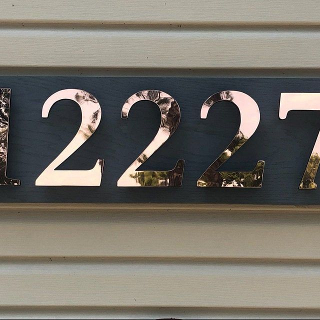 House Numbers Modern Copper Floating In Bright Or Brushed Antigoni 4 100mm High D In 2020 Modern House Number House Numbers Copper House
