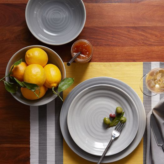 Sets of 4 — Tinted glazes over subtly imperfect textures give our new Crafted Dinnerware the look and feel of potter's-wheel pieces. Durable dishwasher-safe edges make it great for everyday use, while the sophisticated surface is well suited to special entertaining.